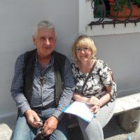 Jana Matzová - Amazonka, redaktorka Severky s kapelníkom jubilujúceho Prameňa (Peter Maxo Chovanec)